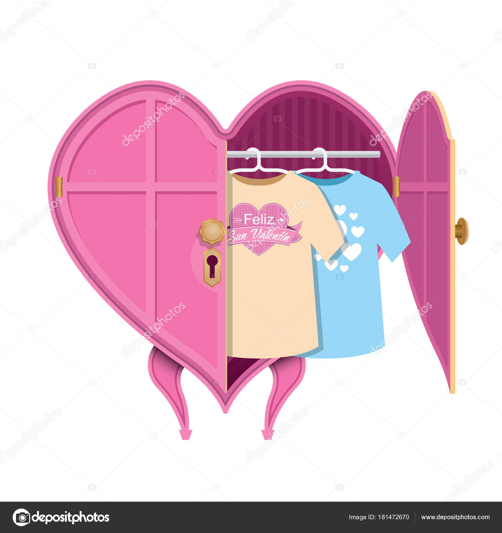 Pink Heart Shaped Clothes Closet Open Door Two Shirts Message Stock Vector