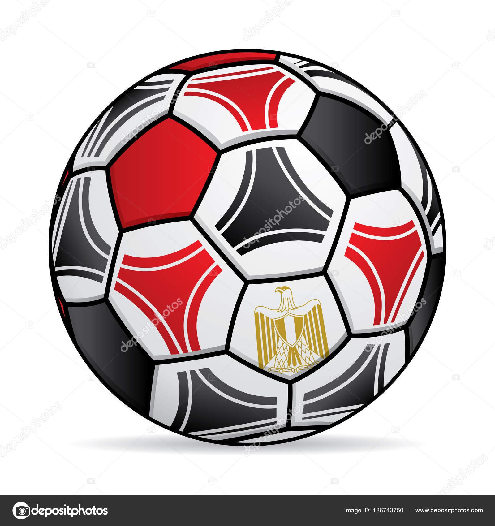 Fußball Mit Den Farben Der Flagge Von Ägypten Vektor Bild ...