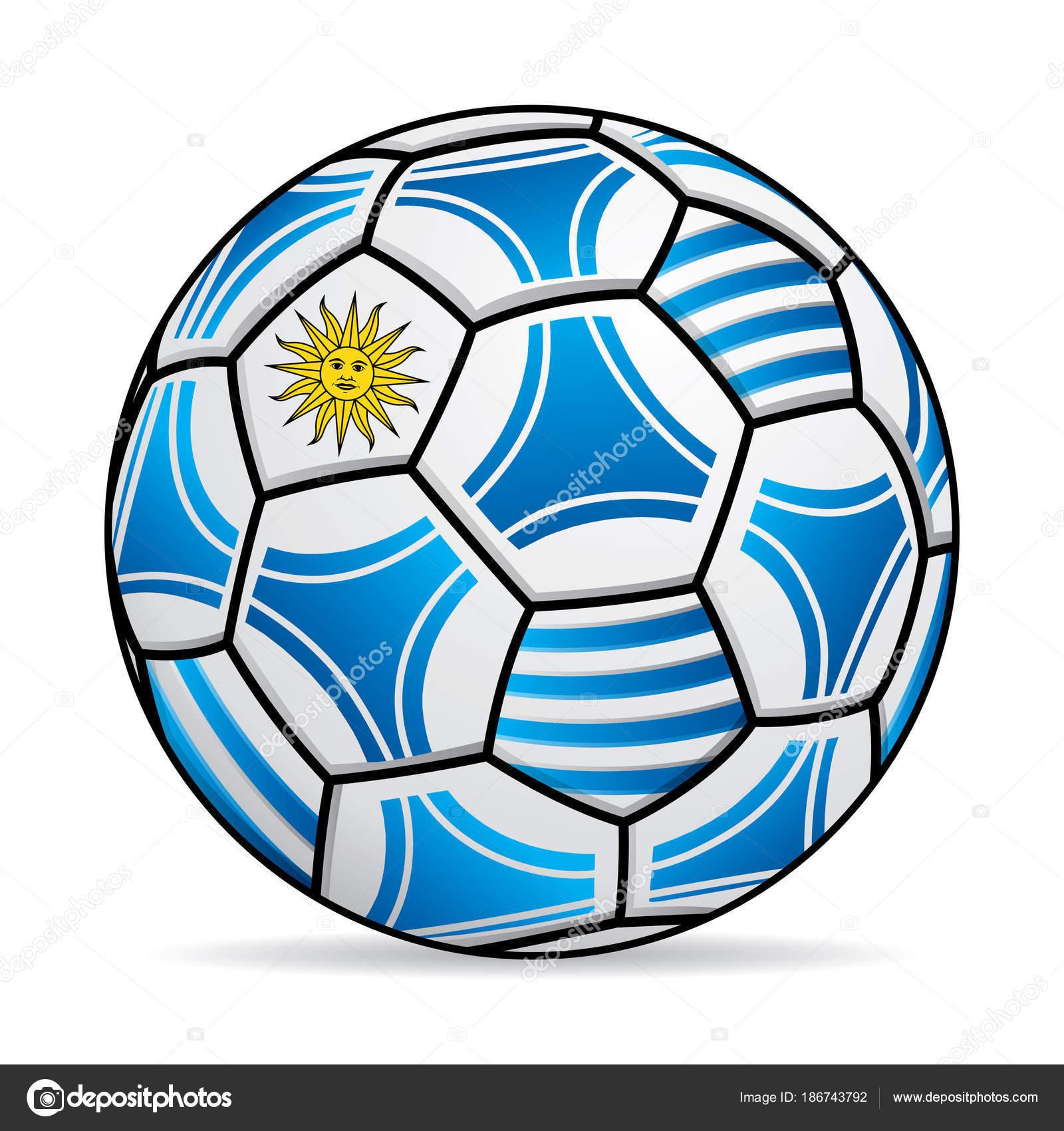 Fußball Mit Den Farben Der Flagge Von Uruguay Vektor Bild ...