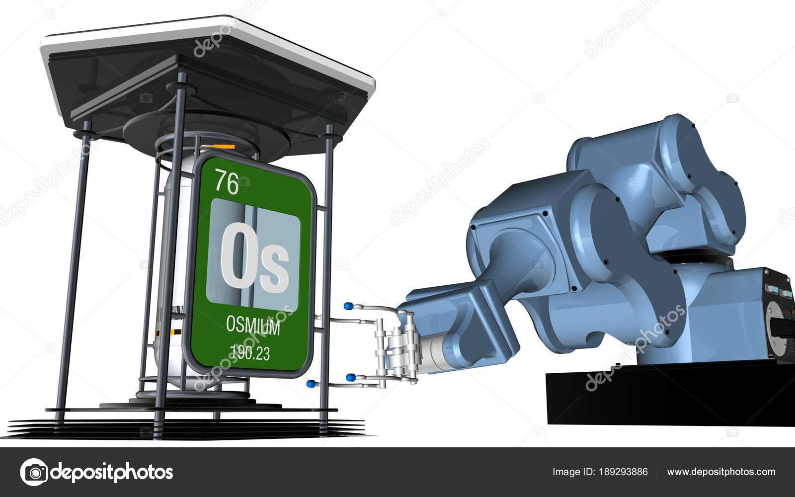 Osmium symbol square shape metallic edge front mechanical arm hold osmium symbol in square shape with metallic edge in front of a mechanical arm that will hold a chemical container 3d render urtaz Choice Image