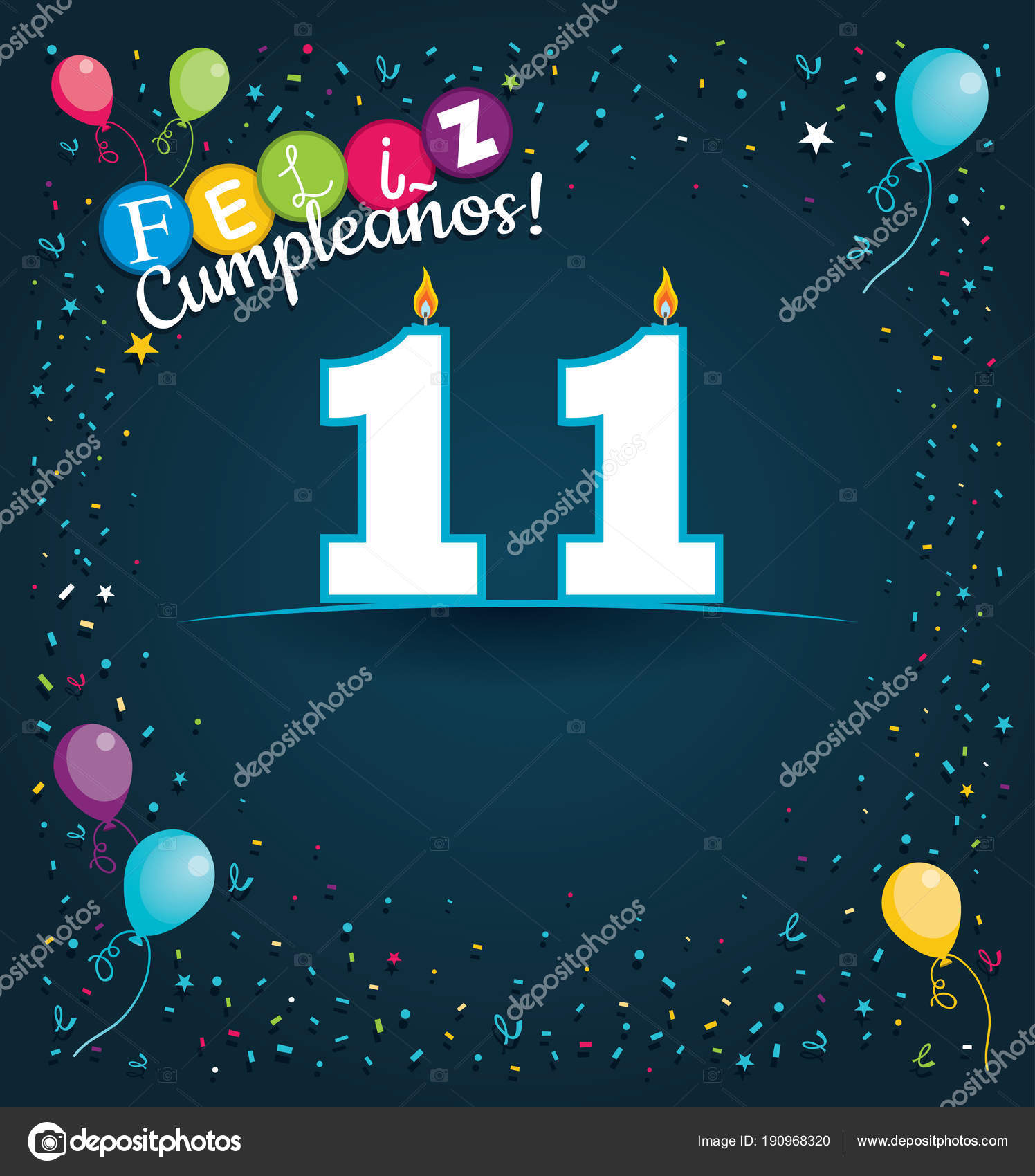 Feliz cumpleanos happy birthday spanish language greeting card white feliz cumpleanos 11 happy birthday 11 in spanish language greeting card with white candles in the form of number with background of balloons and m4hsunfo