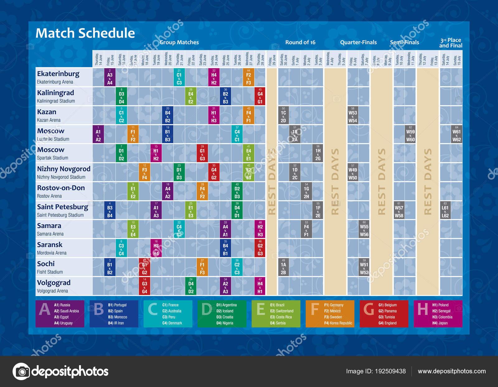 Coupe Du Monde De Football Calendrier.Calendrier Coupe Monde Russie 2018 Chronogramme Complet Avec