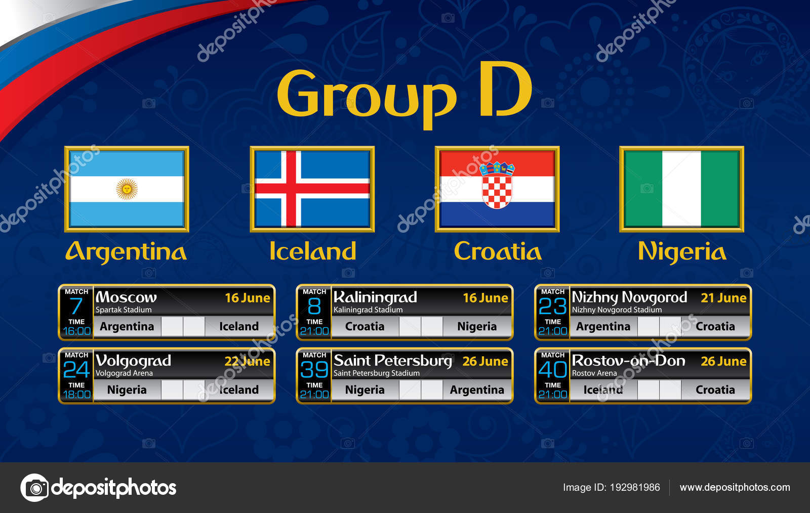 russia soccer tournament calendar group flag each country schedule table stock vector