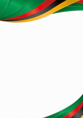 Abstract background with wave shapes with the green, red, black, yellow colors of the flag of Zambia to use as Diploma or Certificate