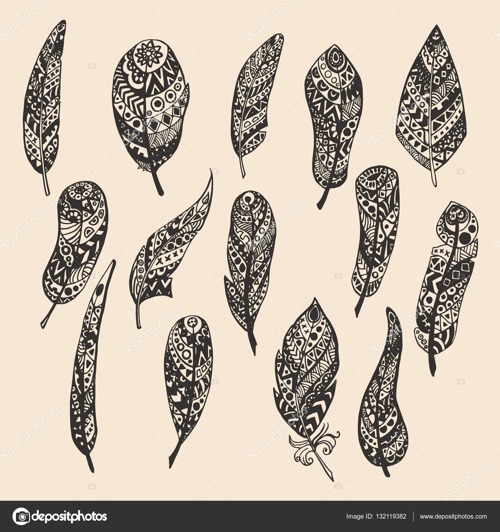 Fabulous Set veren, met de hand tekenen. Illustratie met penseel en inkt  VC81