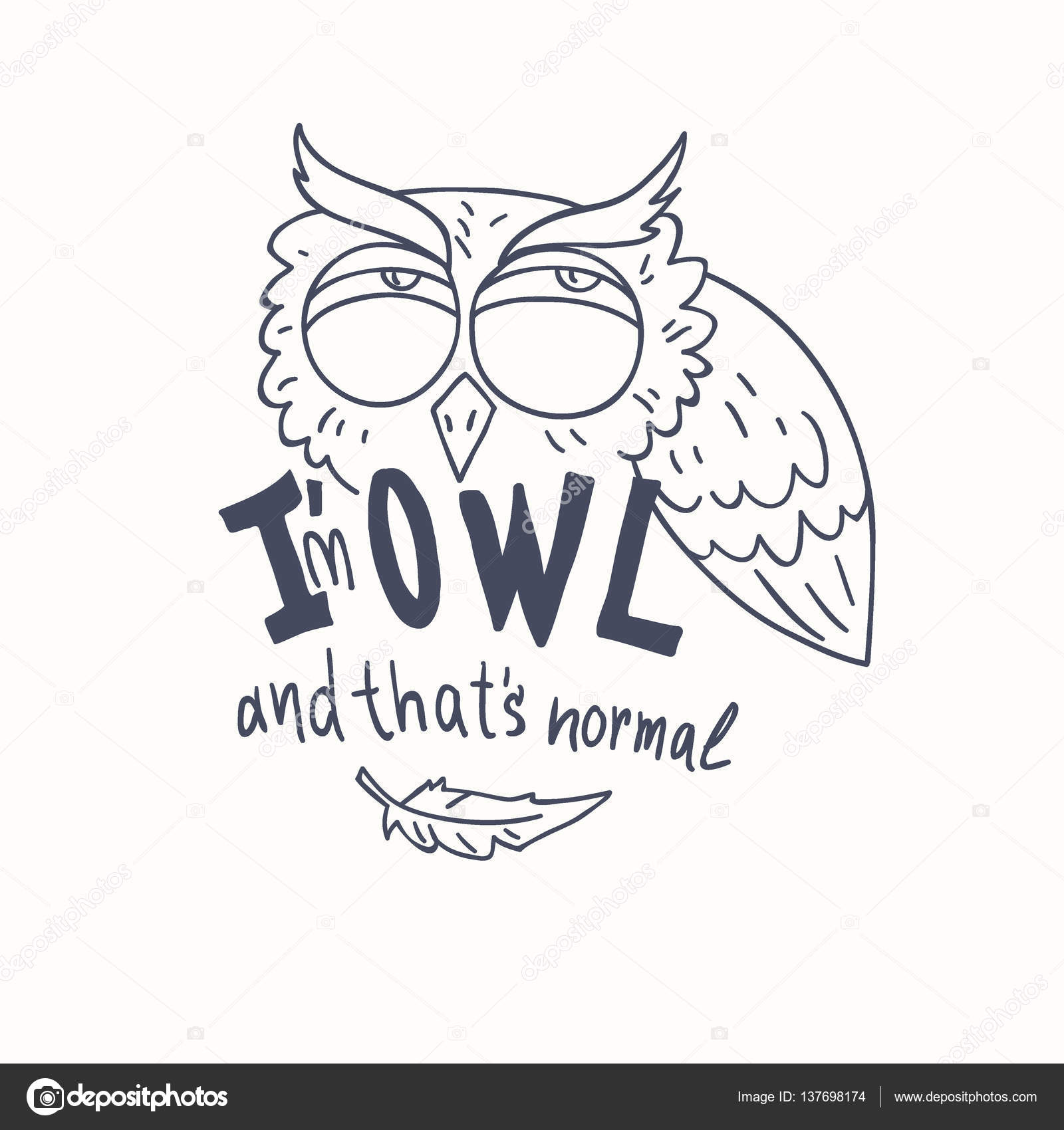 trendy owls draw with the phrase u2014 stock vector alekseyderin