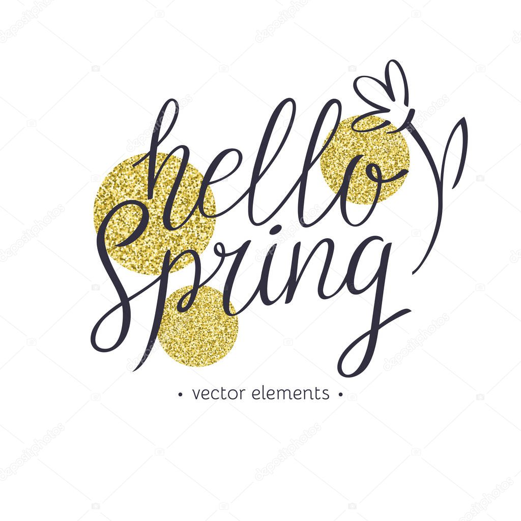 Hello Spring, modern hand drawn lettering.