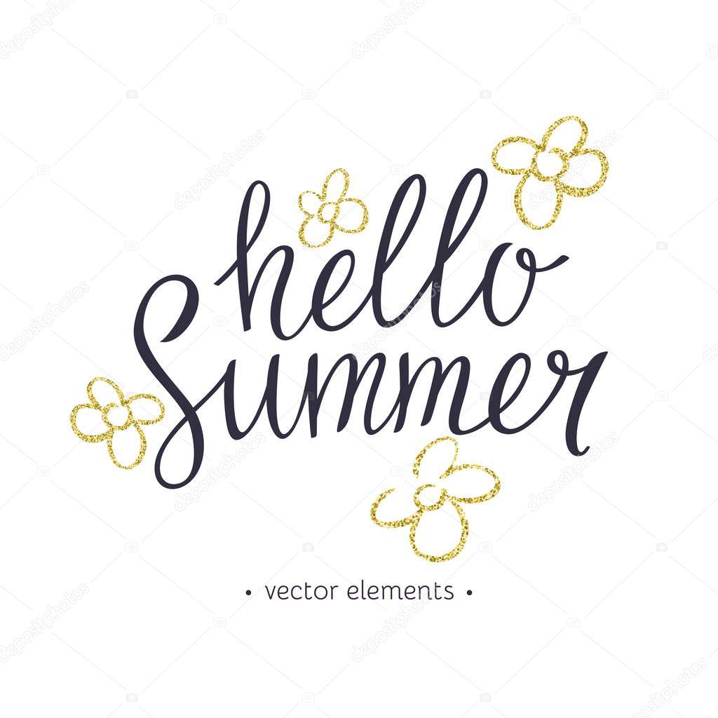 Hello Summer, modern hand drawn lettering.