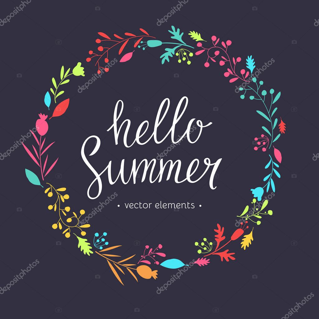 Hello Summer, modern hand drawn lettering.