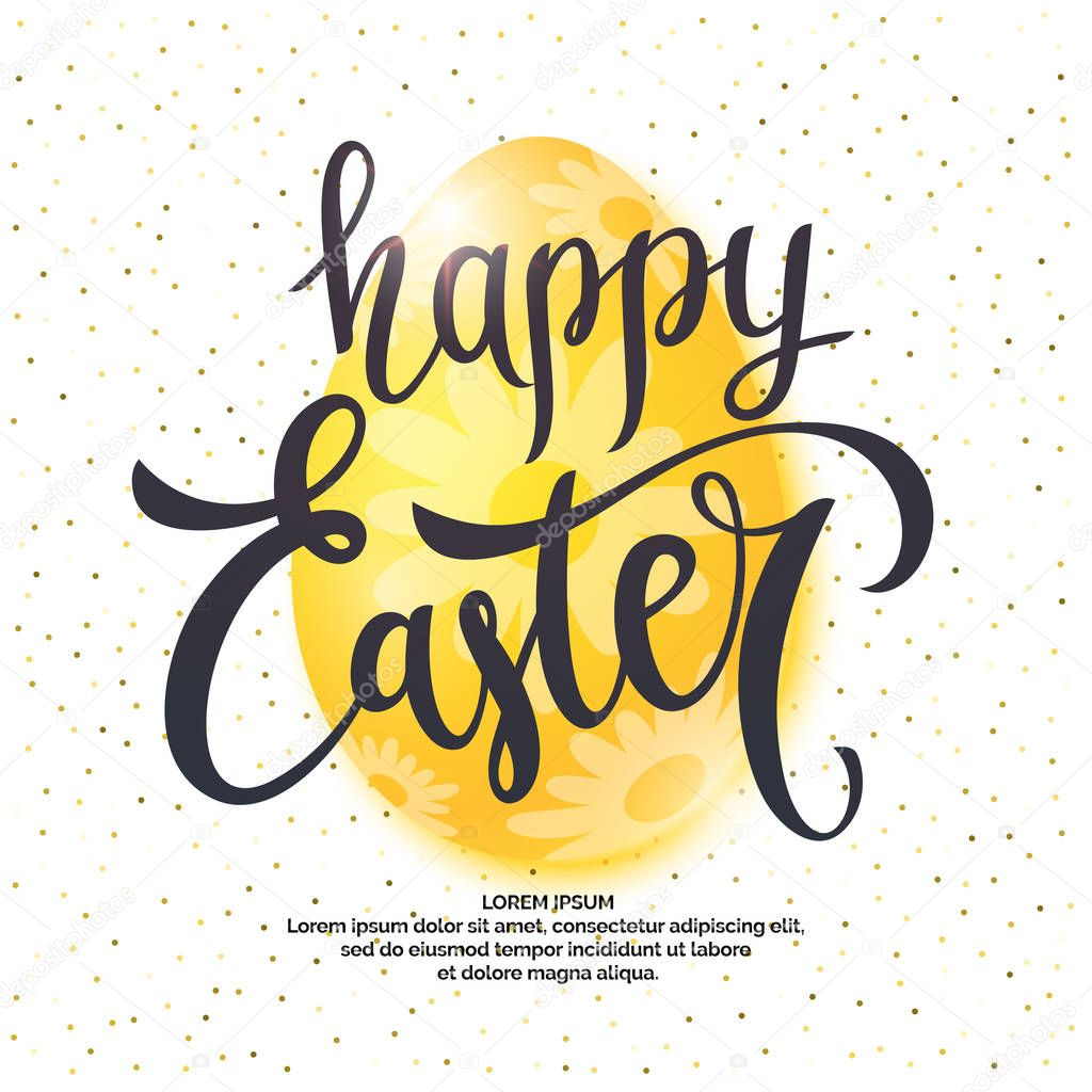 Modern hand drawn lettering Happy Easter.