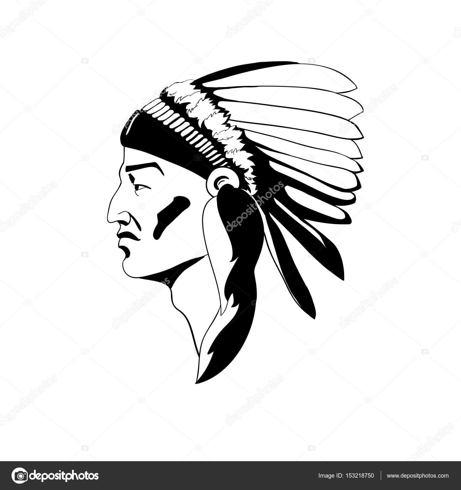 Стилізований профіль індіанського вождя у традиційний Одяг формовий  головний убір — стоковий вектор dae9226d08ed3