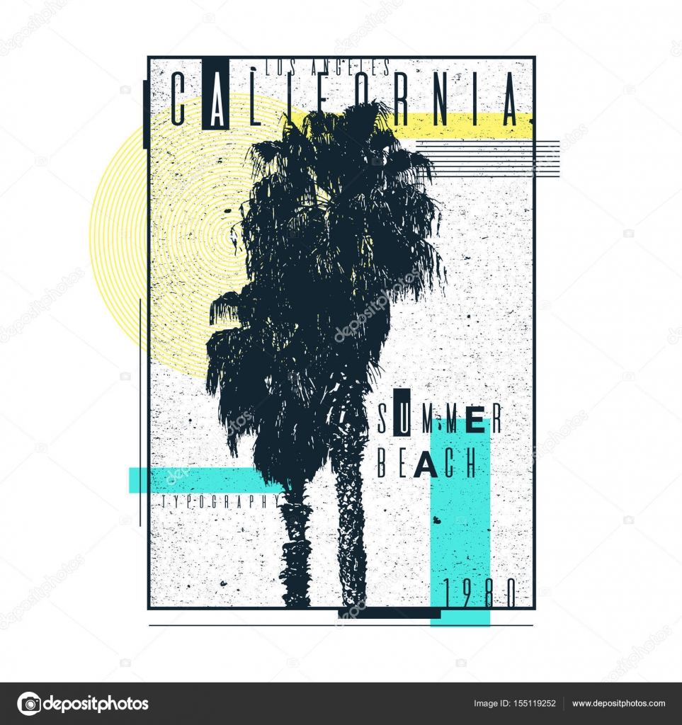 a poster on a t shirt with palm trees of california old typography