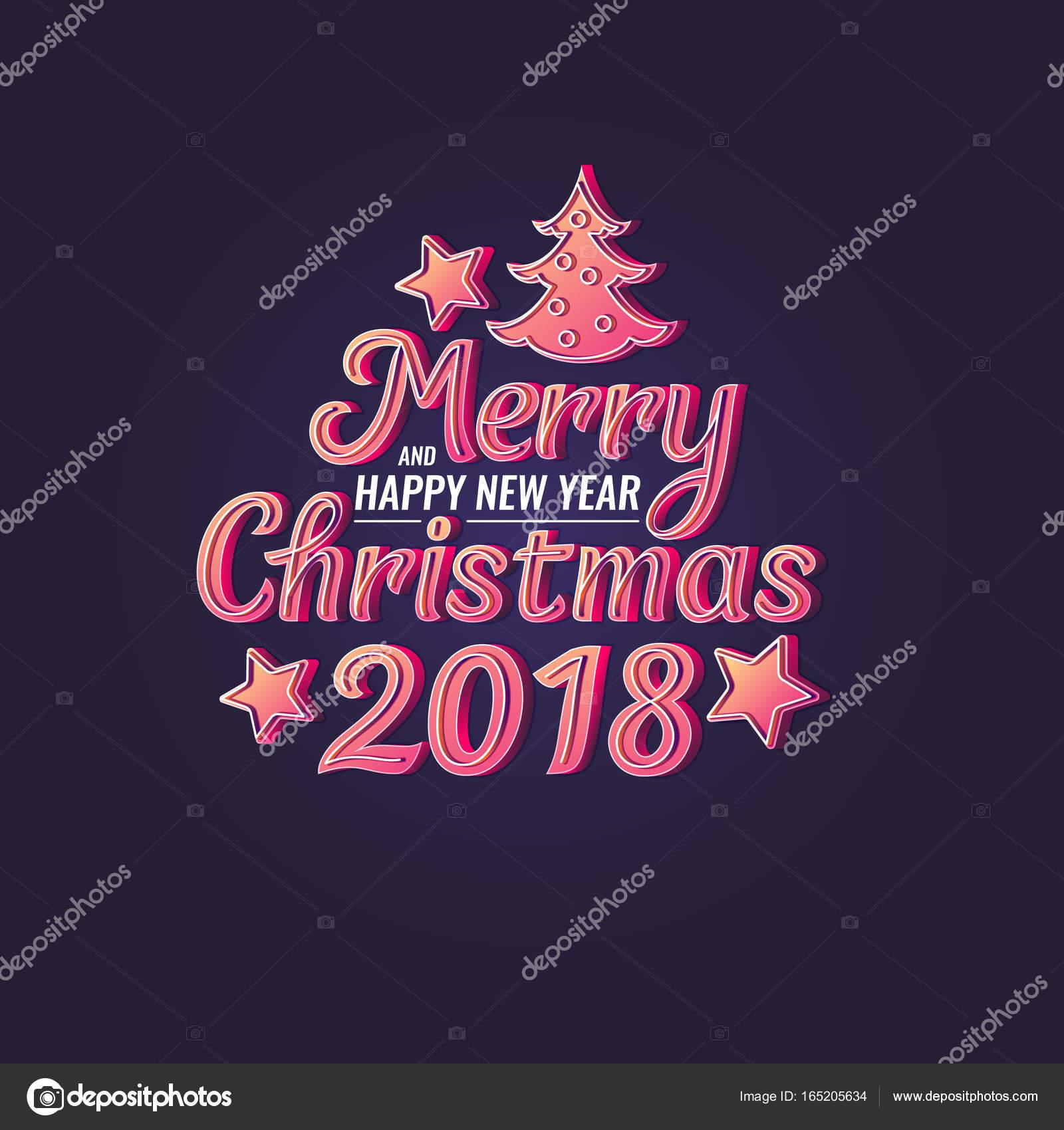 2018 Feliz Natal E Feliz Ano Novo Frase De Rotulação Moderno Mão