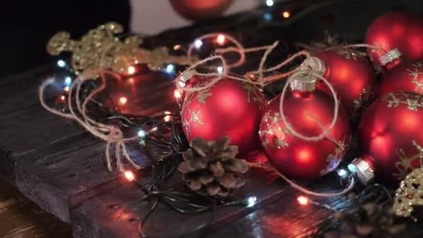 christmas tree christmas decoration pine cone on black background bokeh light