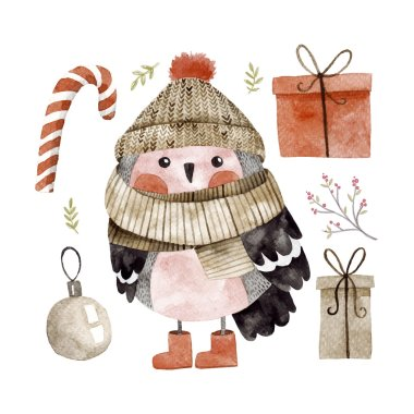 Little cute bullfinch with winter hat and scarf