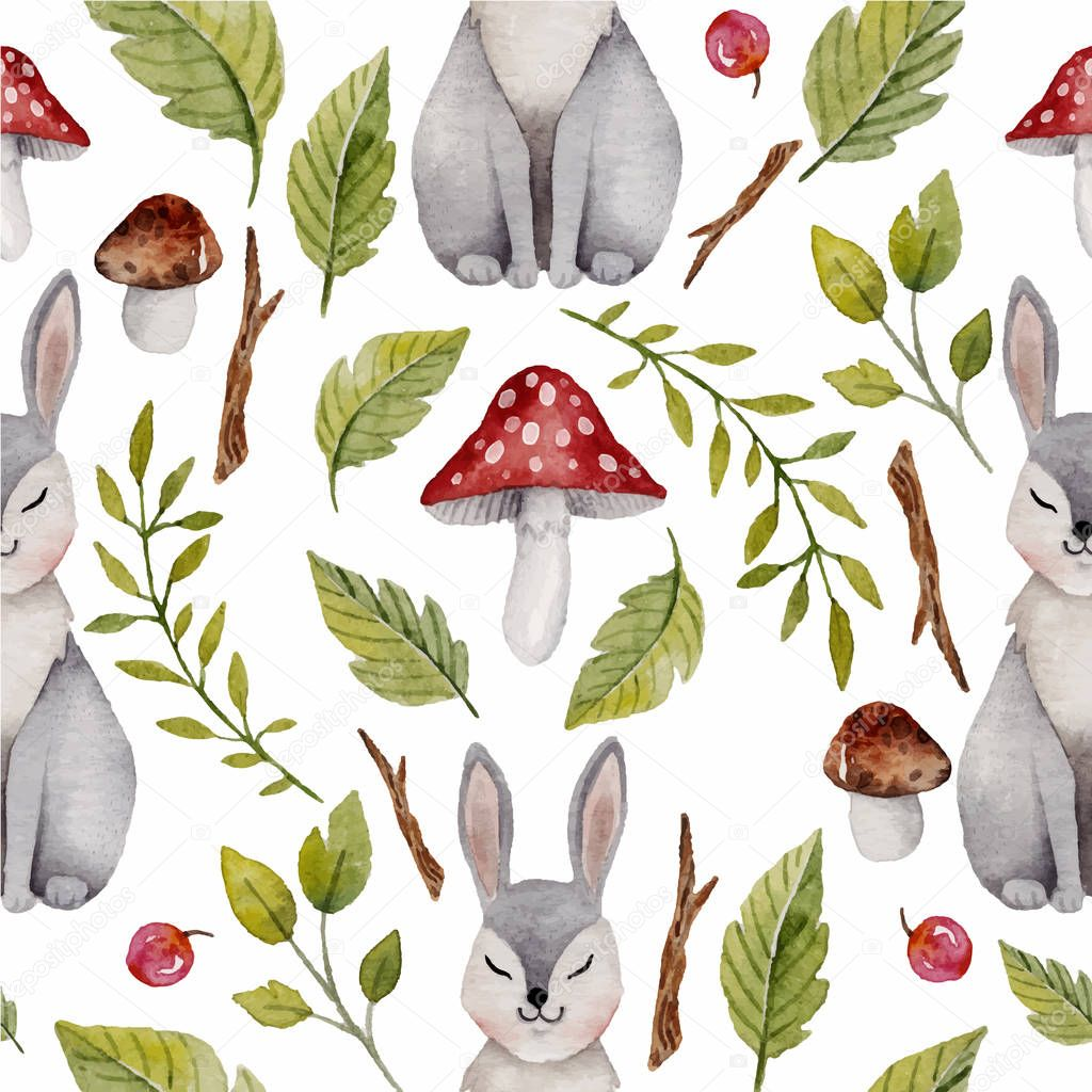Watercolor seamless pattern with hare or rabbit ,mushrooms and other  plants.