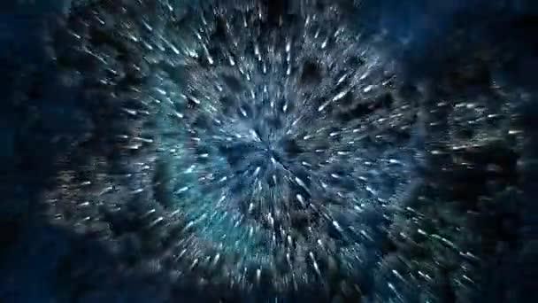 Abstraktní pozadí. Pohyb svítící částic a záření