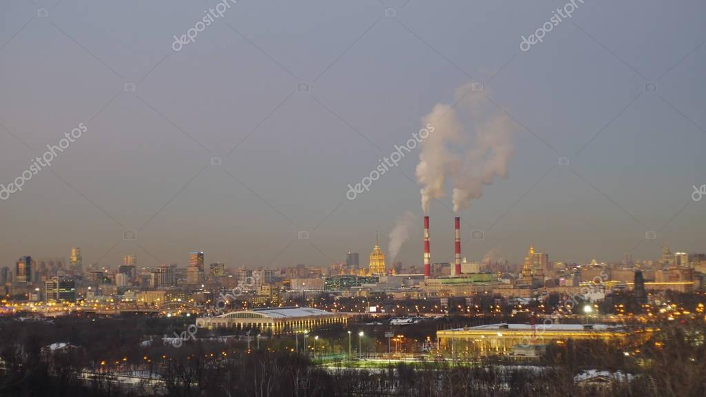 beautiful panorama of winter Moscow