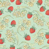 Vector seamless pattern with  flowers of linden and berries of strawberry