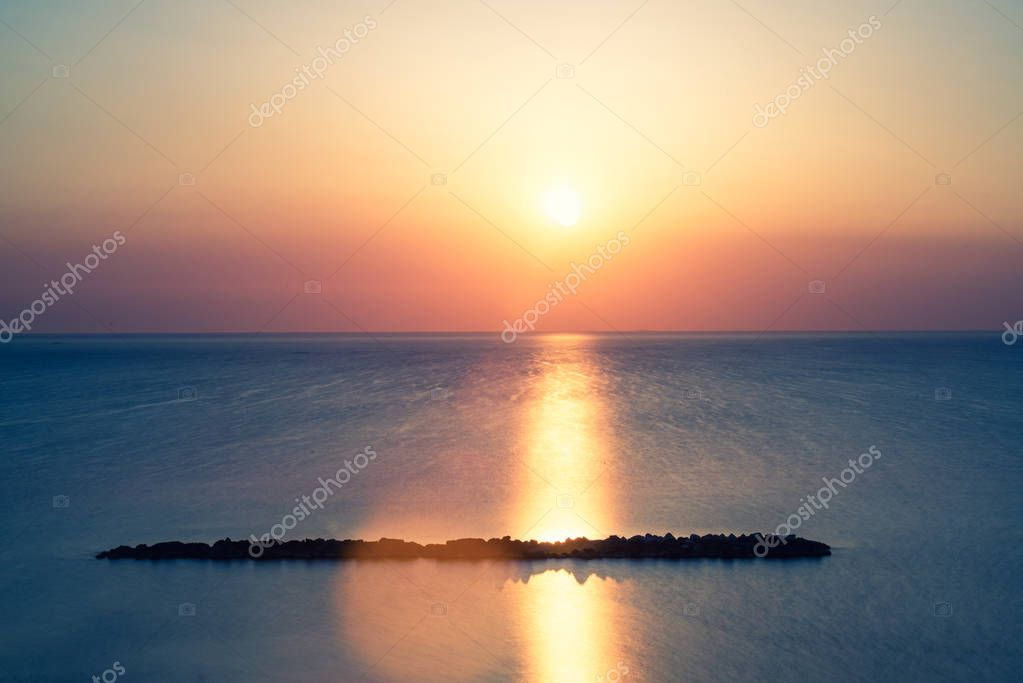 sunset at seaside in summer