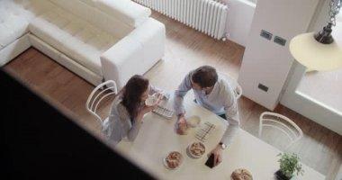 couple in love having italian breakfast