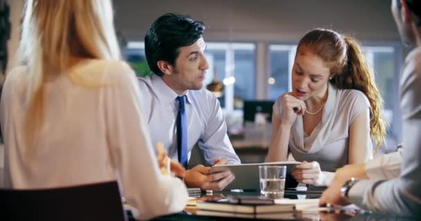 Corporate business team work office meeting.Four caucasian businessman and businesswoman people group talking strategy together.Collaboration, growing, success concept handshake contract deal.4k video