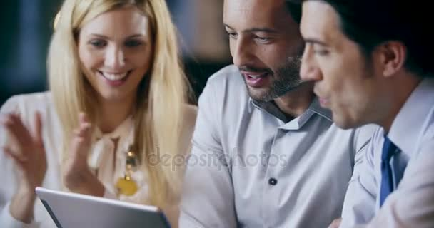 Corporate business team work office meeting.Three caucasian businessman and businesswoman people group talking strategy together.Collaboration,growing,success concept detail with tablet. 4k video
