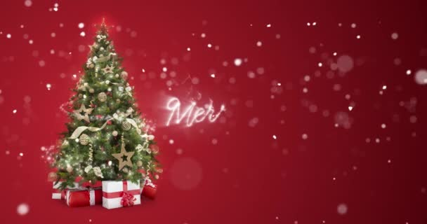 Christmas Card Message.Sparkling Lights Xmas Tree And Merry Christmas Greeting