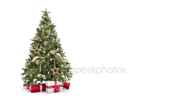 Looping lights decorated xmas tree with gift boxes on white background with text space to place logo or copy. Animated abstract Christmas present greeting post card. 4k seamless loop video