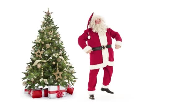 Lights decorated xmas tree with gift boxes and Santa Claus running,waving and exiting on white background with text space to place logo or copy.Animated Christmas present greeting post card video