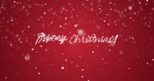 Opakování veselé vánoční poselství v anglicky, německy, francouzské, španělské, italské, portugalské multi jazyk s kopie logo prostor na červeném pozadí. Animovaný holiday greeting card pozadí bezešvé smyčka 4k