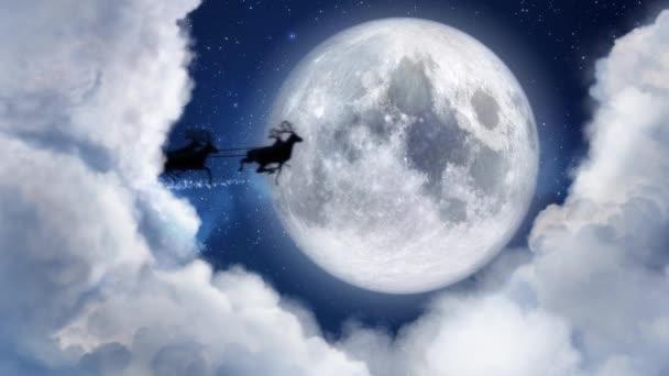 Santa Claus sobů eskamotérské silueta letící v moonlight, vánoční a novoroční zprávy, text prostor pro typ loga nebo kopírovat. Vánoční měsíc noc a mraky. Animovaný současné pozdrav pohlednice 4k videa