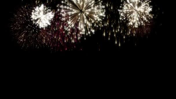 bunte Schleife animiertes Feuerwerk auf schwarzem Hintergrund. Feier Schleife Animation für festliche Ereignisse wie Weihnachten, Neujahr, Unabhängigkeit day.gold, rot bunte Explosion loopable 4k soziale Postkarte
