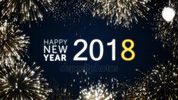 Looping Happy New Year 2018 Social Post Card With Gold Animated Fireworks  On Elegant Black And