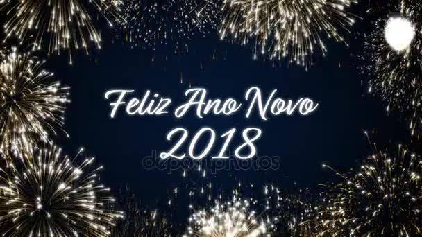 Opakování šťastný nový rok 2018 sociální pohlednice s zlaté animovaný ohňostroj na elegantní černé a modré pozadí. Loop oslava koncept Portugalský jazyk. Loopable animace pro událost slavnostn