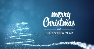 Merry christmas and a happy new year greeting video clip with hand sparkling lights xmas tree merry christmas and happy new year greeting message in english on blue m4hsunfo