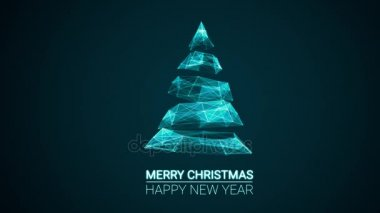 Merry christmas and happy new year greetings stock video modern future christmas tree and merry christmas and happy new year greetings message on blue background m4hsunfo