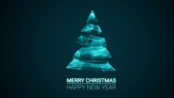 moderní budoucí vánoční strom a veselé Vánoce a šťastný nový rok pozdravy sdělení na modrém pozadí. Elegantní animované sezóny sociální digitální pohlednice z dovolené pro technologie, futuristické business.4k video
