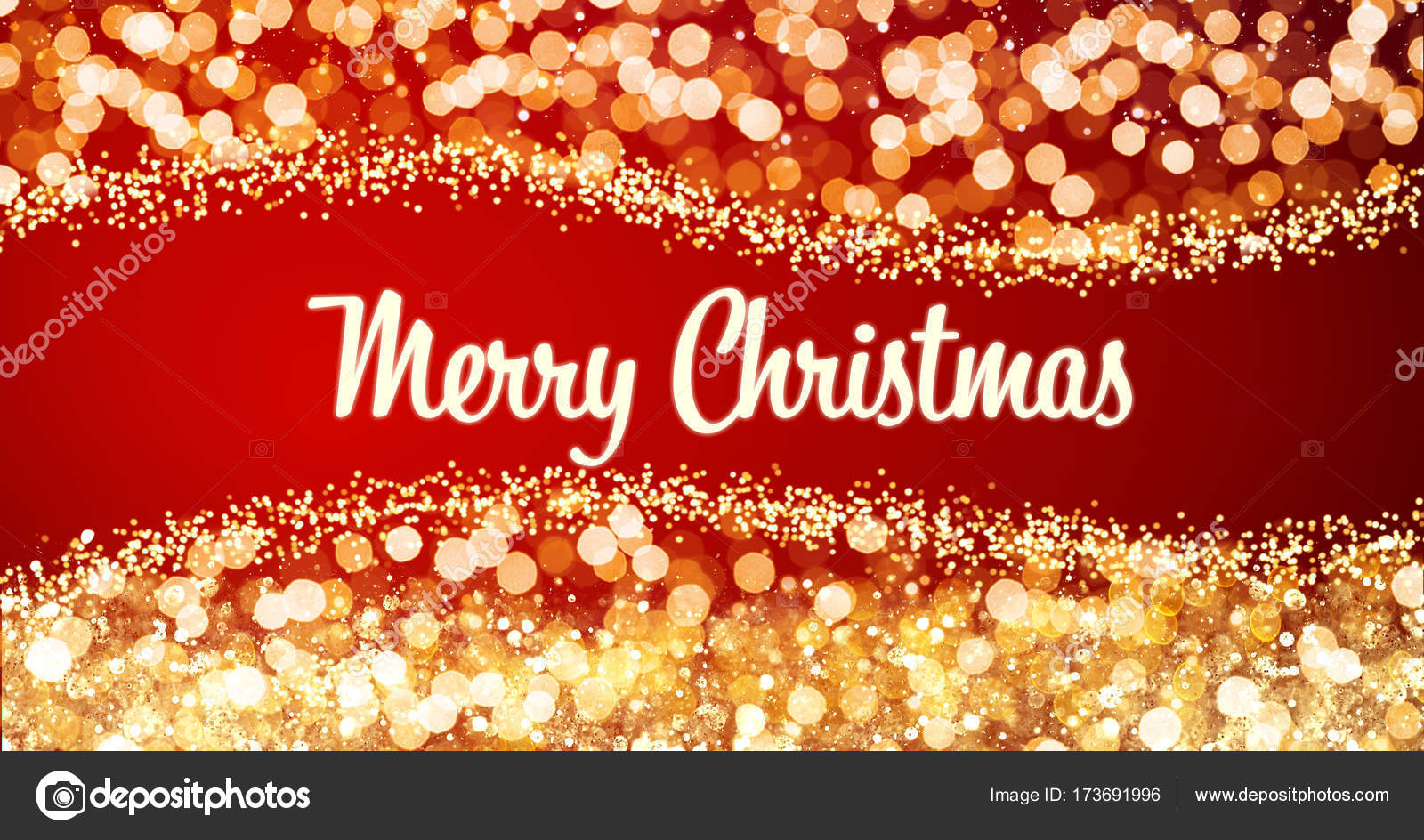 Sparkling Gold And Silver Xmas Lights With Merry Christmas Greeting