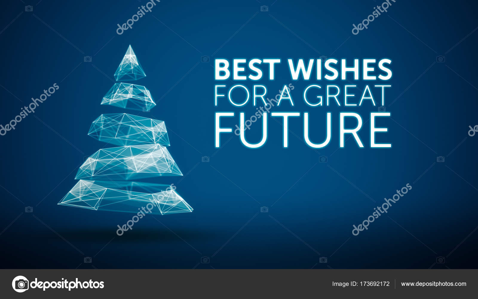 Modern Christmas Tree And Wishes Great Future Season Greetings