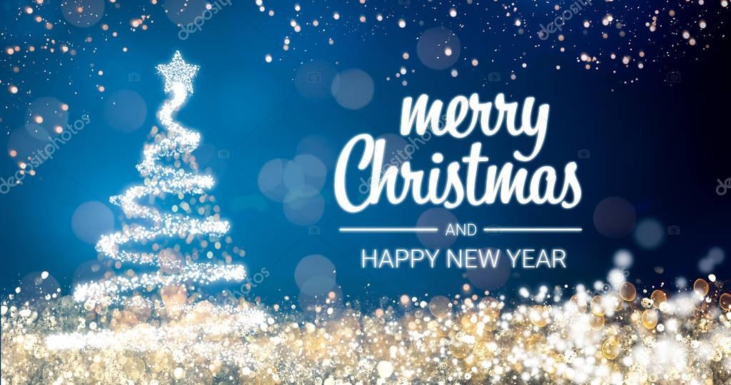 sparkling gold and silver lights xmas tree Merry Christmas and Happy New Year greeting message on blue background,snow flakes,bright lights decoration.Elegant holiday season social post digital card