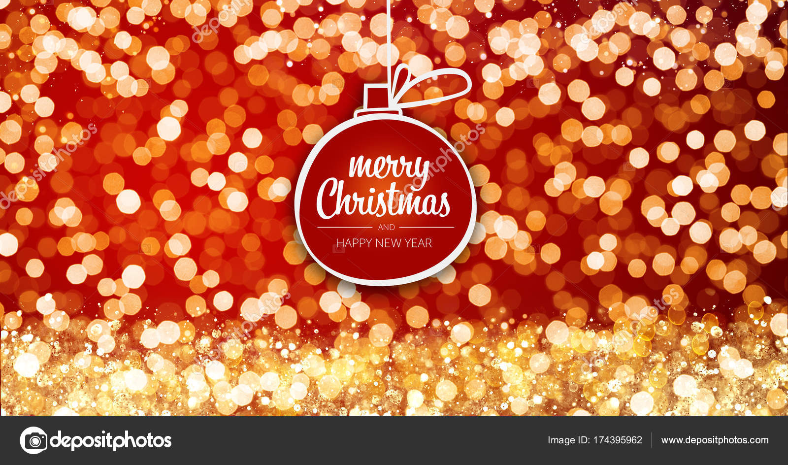 Sparkling Gold And Silver Xmas Lights With Merry Christmas And Happy