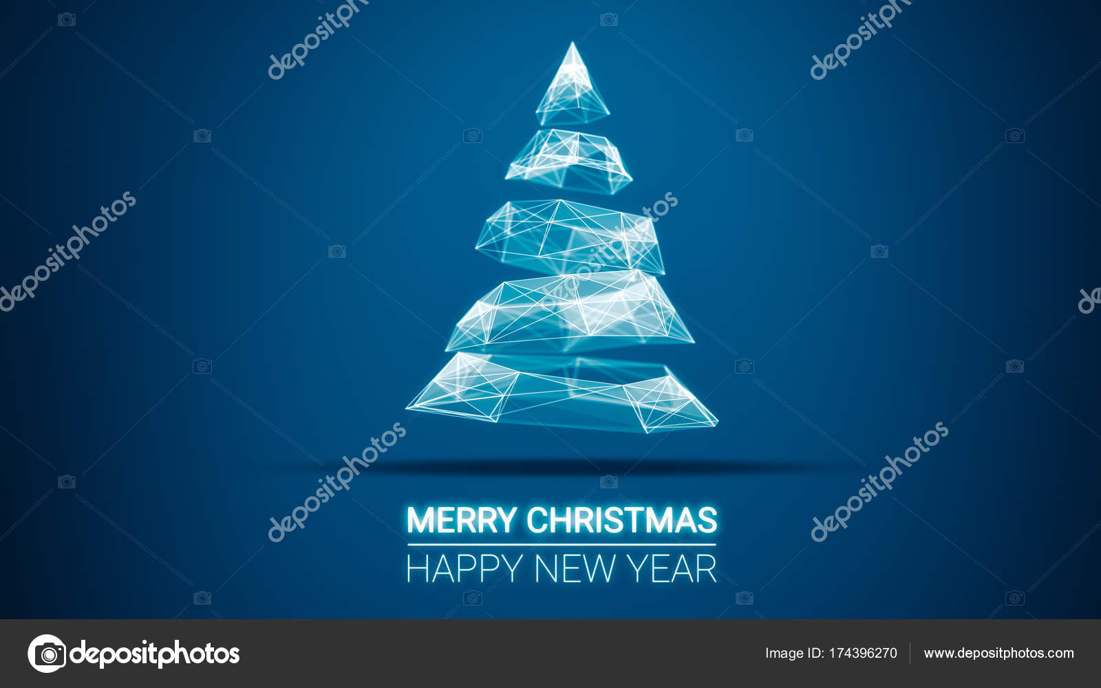 Modern Future Christmas Tree And Merry Christmas And Happy New Year