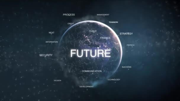 Futuristické orientované na podnikání slova cloud modrá moderní animace opakovat. 3D technologie země z vesmíru slova nastavit včetně týmové práce, budoucí, růstu, strategie, lidi. Úspěch konceptu. Loopable 4k videa