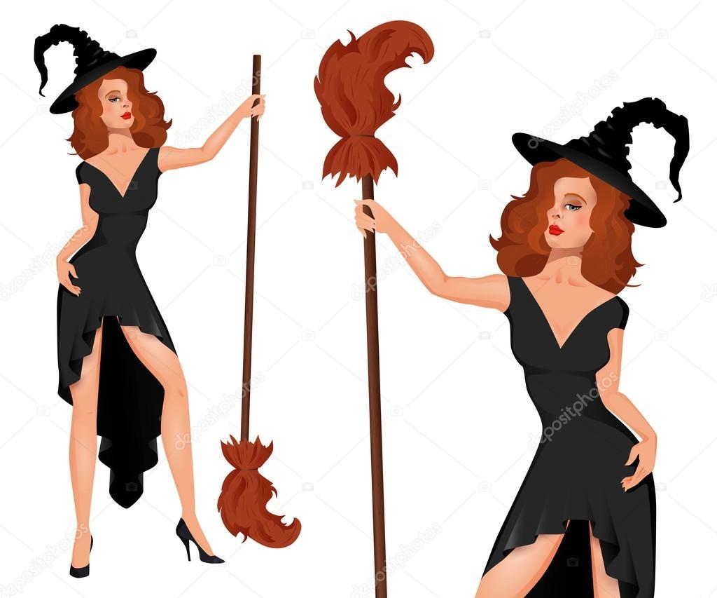 Joven bruja en un sombrero con la escoba. Halloween — Archivo ...