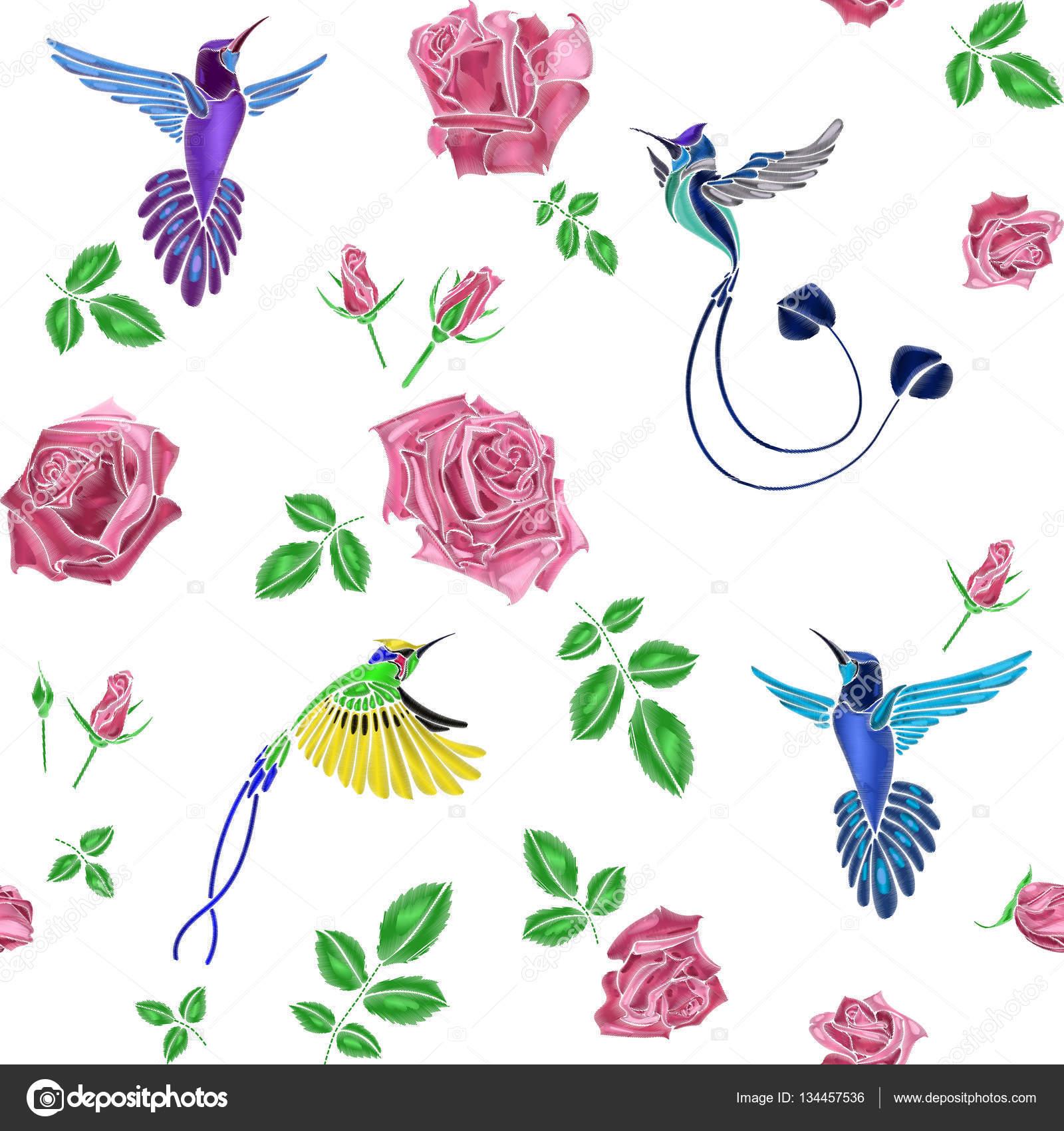 bordado de rosas y aves — Archivo Imágenes Vectoriales © artabramoa ...