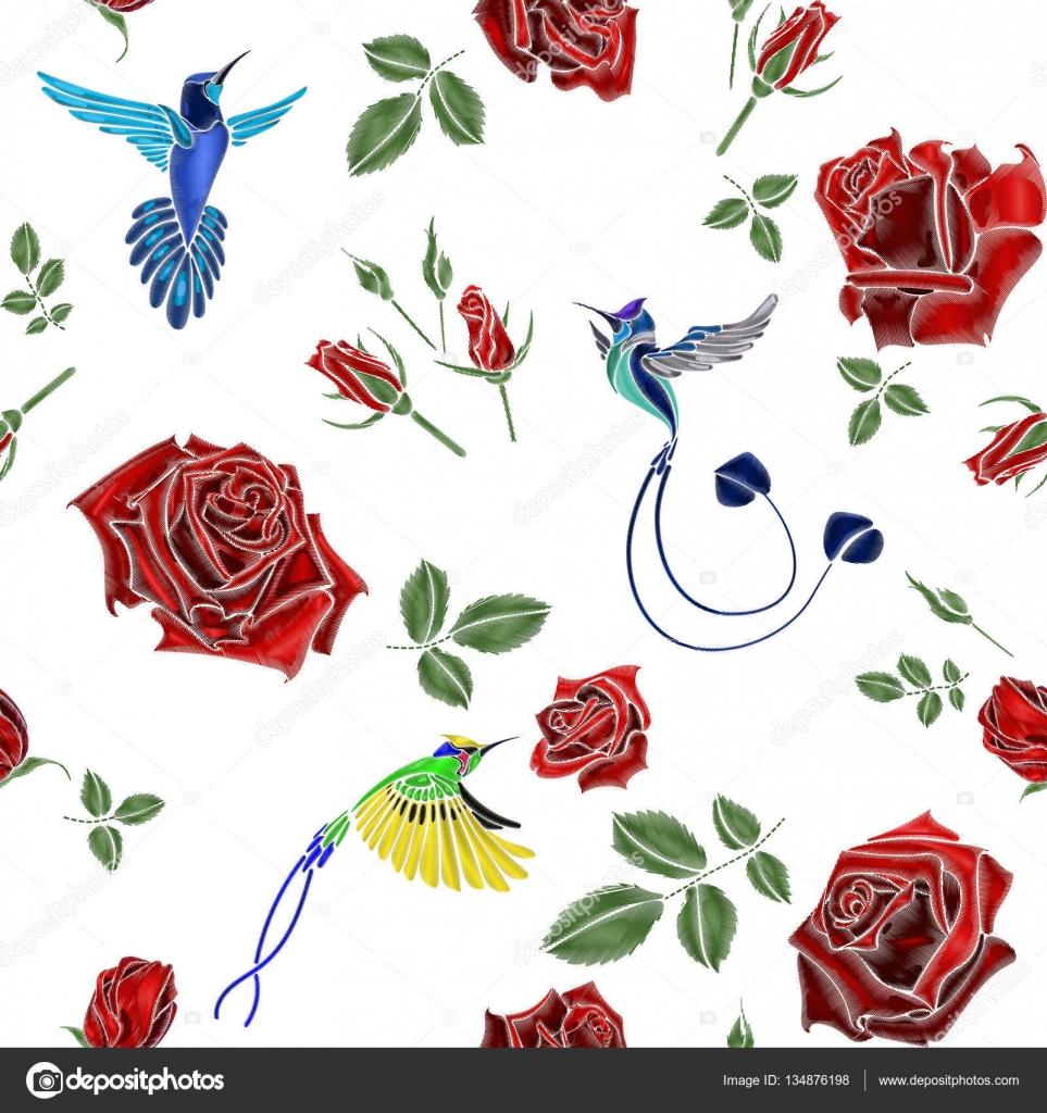 bordado de rosas y aves — Vector de stock © artabramoa #134876198
