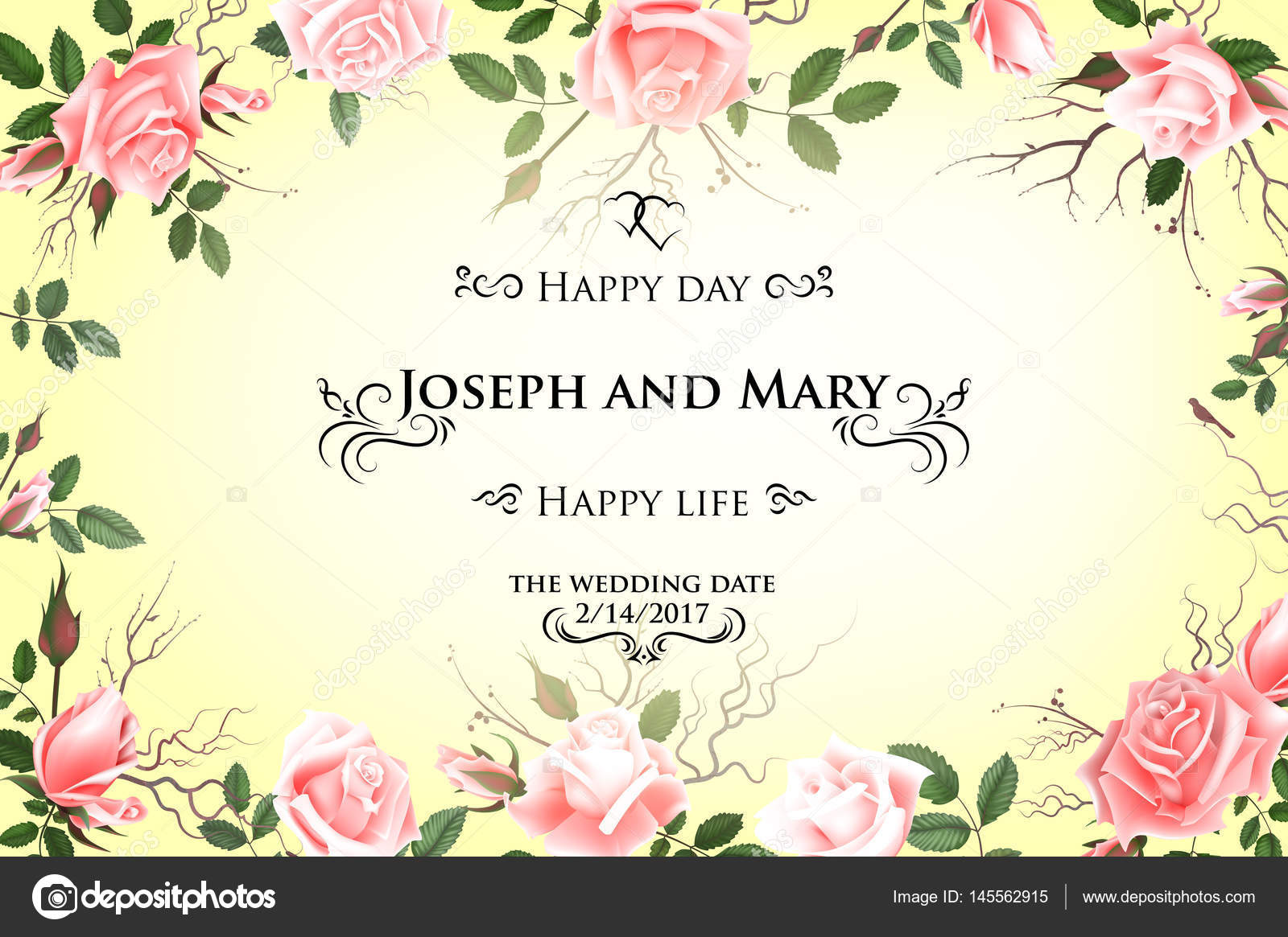 Postcard with delicate flowers roses wedding invitation thank you wedding invitation thank you save the date cards flyer banner template spring and summer background happy birthday greeting card expocarfo Images