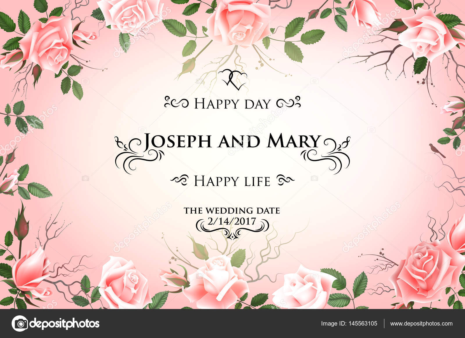 Postcard with delicate flowers roses. Wedding invitation, thank you ...