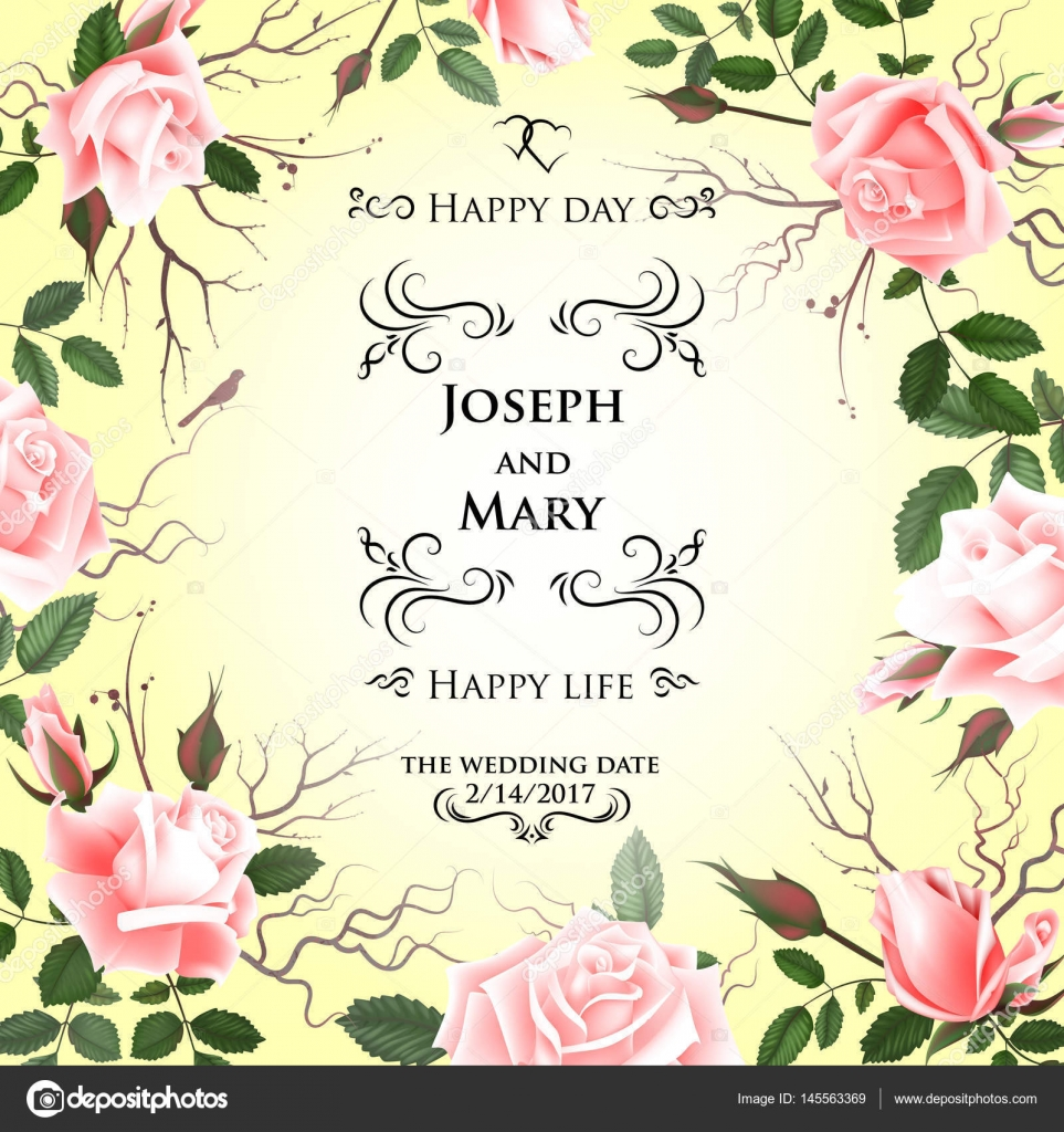 Postcard with delicate flowers roses wedding invitation thank you wedding invitation thank you save the date cards flyer banner template spring and summer background happy birthday greeting card bookmarktalkfo Images